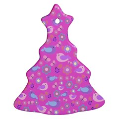 Spring pattern - pink Christmas Tree Ornament (Two Sides)