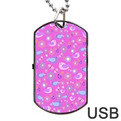 Spring pattern - pink Dog Tag USB Flash (One Side)