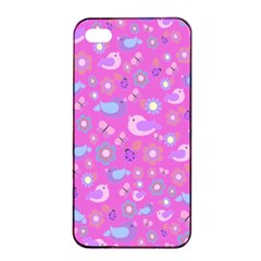 Spring pattern - pink Apple iPhone 4/4s Seamless Case (Black)