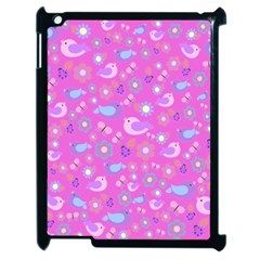 Spring pattern - pink Apple iPad 2 Case (Black)