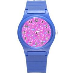 Spring pattern - pink Round Plastic Sport Watch (S)