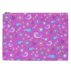 Spring pattern - pink Cosmetic Bag (XXL)