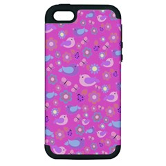 Spring pattern - pink Apple iPhone 5 Hardshell Case (PC+Silicone)