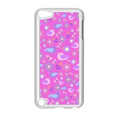 Spring pattern - pink Apple iPod Touch 5 Case (White)