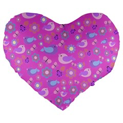 Spring pattern - pink Large 19  Premium Heart Shape Cushions