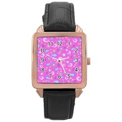 Spring pattern - pink Rose Gold Leather Watch