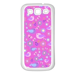 Spring pattern - pink Samsung Galaxy S3 Back Case (White)