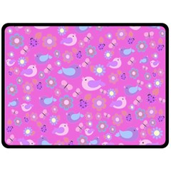 Spring pattern - pink Double Sided Fleece Blanket (Large)