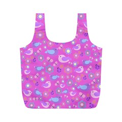 Spring pattern - pink Full Print Recycle Bags (M)