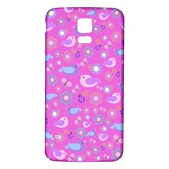Spring pattern - pink Samsung Galaxy S5 Back Case (White)