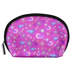 Spring pattern - pink Accessory Pouches (Large)