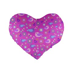 Spring pattern - pink Standard 16  Premium Flano Heart Shape Cushions