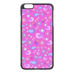 Spring pattern - pink Apple iPhone 6 Plus/6S Plus Black Enamel Case