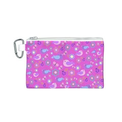 Spring pattern - pink Canvas Cosmetic Bag (S)