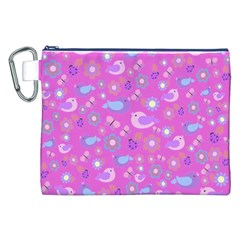 Spring pattern - pink Canvas Cosmetic Bag (XXL)