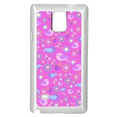 Spring pattern - pink Samsung Galaxy Note 4 Case (White)