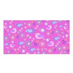 Spring pattern - pink Satin Shawl
