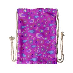 Spring pattern - pink Drawstring Bag (Small)