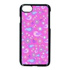 Spring pattern - pink Apple iPhone 7 Seamless Case (Black)
