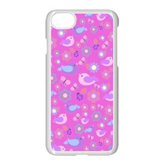 Spring pattern - pink Apple iPhone 7 Seamless Case (White)
