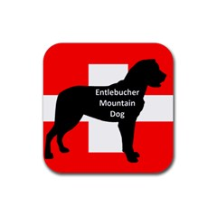 Entlebucher Mt Dog Name Silo On Switzerland Flag Rubber Square Coaster (4 pack)