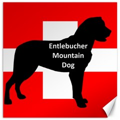Entlebucher Mt Dog Name Silo On Switzerland Flag Canvas 12  x 12