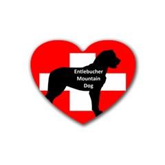 Entlebucher Mt Dog Name Silo On Switzerland Flag Rubber Coaster (Heart)