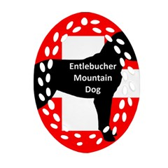 Entlebucher Mt Dog Name Silo On Switzerland Flag Oval Filigree Ornament (Two Sides)