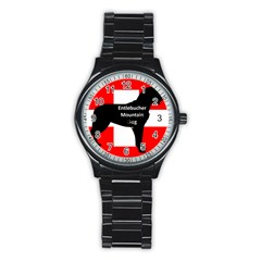 Entlebucher Mt Dog Name Silo On Switzerland Flag Stainless Steel Round Watch