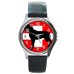 Entlebucher Mt Dog Silo Switzerland Flag Round Metal Watch
