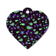 Spring night Dog Tag Heart (Two Sides)