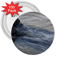 2 Flat Coated Retrievers Swimming 3  Buttons (100 pack)