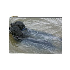 2 Flat Coated Retrievers Swimming Cosmetic Bag (Large)
