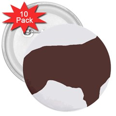 Flat Coated Retriever Silo Color 3  Buttons (10 pack)