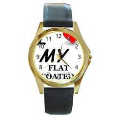 Flat Coated Ret Love Round Gold Metal Watch