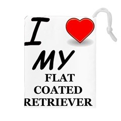 Flat Coated Ret Love Drawstring Pouches (Extra Large)