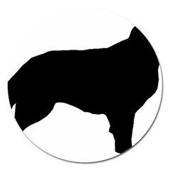 Flat Coated Retriever Silo Magnet 5  (Round)