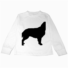 Flat Coated Retriever Silo Kids Long Sleeve T-Shirts