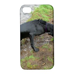 Flat Coated Retriever Wet Apple iPhone 4/4S Hardshell Case with Stand