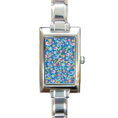 Spring pattern - blue Rectangle Italian Charm Watch