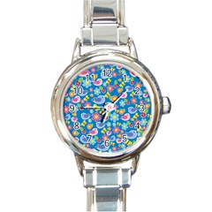 Spring pattern - blue Round Italian Charm Watch