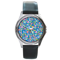Spring pattern - blue Round Metal Watch