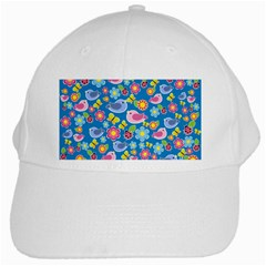 Spring pattern - blue White Cap