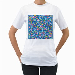 Spring pattern - blue Women s T-Shirt (White) (Two Sided)