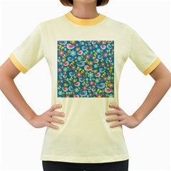 Spring pattern - blue Women s Fitted Ringer T-Shirts
