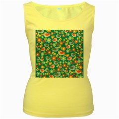 Spring pattern - blue Women s Yellow Tank Top