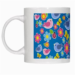 Spring pattern - blue White Mugs