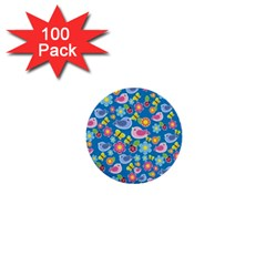 Spring pattern - blue 1  Mini Buttons (100 pack)