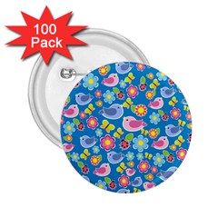 Spring pattern - blue 2.25  Buttons (100 pack)