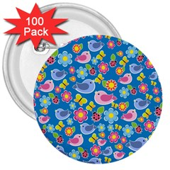 Spring pattern - blue 3  Buttons (100 pack)